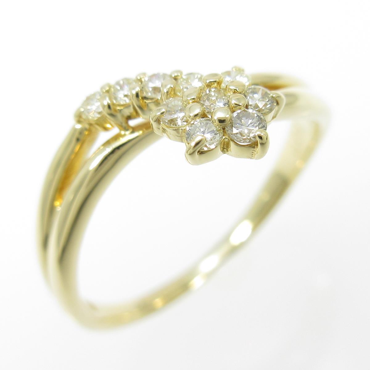 K18YG フラワー ダイヤモンドリング